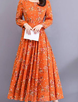 cheap -Women's Maxi Red Orange Dress Elegant Swing Geometric M L Slim