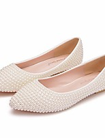cheap -Women's Wedding Shoes Flat Heel Pointed Toe PU Spring & Summer White / Beige