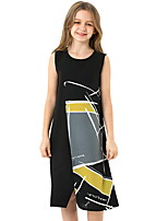 cheap -Kids Girls' Color Block Dress Black