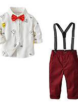 cheap -Kids Toddler Boys' Basic Birthday Party Party & Evening Striped Long Sleeve Regular Regular Clothing Set White