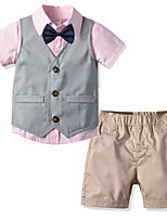 cheap -Kids Boys' Basic Christmas Home Solid Colored Print Sleeveless Long Sleeve Regular Regular Cotton Clothing Set Blushing Pink