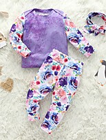 cheap -Baby Girls' Basic Floral Long Sleeve Regular Clothing Set Purple