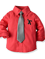 cheap -Kids Toddler Boys' Basic Street chic Solid Colored Long Sleeve Shirt Red