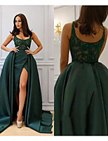 cheap -A-Line Scoop Neck Court Train Satin Elegant Prom / Quinceanera Dress 2020 with Beading / Split Front