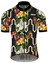 cheap -21Grams Men's Women's Short Sleeve Cycling Jersey 100% Polyester Green / Black Floral Botanical Bike Jersey Top Mountain Bike MTB Road Bike Cycling Quick Dry Sports Clothing Apparel / Race Fit