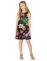 cheap -Kids Girls' Active Sweet Floral Print Sleeveless Knee-length Dress Black