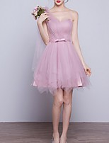 cheap -A-Line One Shoulder Short / Mini Polyester Elegant Cocktail Party / Wedding Guest Dress with Tier 2020