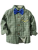 cheap -Kids Toddler Boys' Basic Street chic Plaid Long Sleeve Shirt Green
