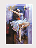 cheap -Modern Oil Painting Charming Ballet Girl 100% Hand-Painted Purple Vertical Artwork on Canvas for Home Decoration with Stretched Frame Ready to Hang