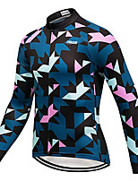 cheap -21Grams Men's Long Sleeve Cycling Jersey Winter 100% Polyester Blue+Pink Geometic Bike Jersey Top Mountain Bike MTB Road Bike Cycling Thermal / Warm UV Resistant Breathable Sports Clothing Apparel