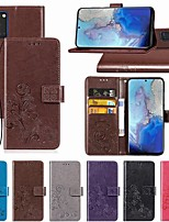 cheap -Case For Samsung Galaxy Note 10/Note 10 Plus/A10s Wallet / Card Holder / with Stand Full Body Cases Solid Colored / Flower PU Leather For Galaxy A20S/S20/S20 Plus/S20 Ultra/A51/A71/A81/A91