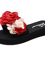 cheap -Women's Slippers & Flip-Flops Flat Heel Open Toe Satin Flower Polyester Sweet / Chinoiserie Walking Shoes Summer Red / Dark Blue