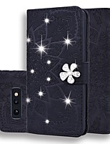 cheap -Case For Samsung Galaxy S9 / S9 Plus / S8 Plus Wallet / Card Holder / Rhinestone Full Body Cases Solid Colored / Glitter Shine PU Leather For Galaxy S8/S10/S10E/S10 Plus/Note 10/Note 10 Plus/Note 9