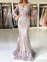cheap -Mermaid / Trumpet V Neck Sweep / Brush Train Lace Sexy / Elegant Engagement / Formal Evening Dress 2020 with