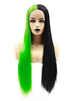 cheap -Synthetic Lace Front Wig Straight Jenifer Middle Part Lace Front Wig Long Green Synthetic Hair 22-26 inch Women's Heat Resistant Women Hot Sale Black Green / Glueless
