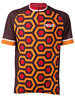 cheap -21Grams Men's Short Sleeve Cycling Jersey Winter 100% Polyester Black / Orange Bike Jersey Top Mountain Bike MTB Road Bike Cycling UV Resistant Breathable Quick Dry Sports Clothing Apparel / Stretchy