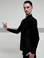 cheap -Latin Dance Tops Men's Performance Spandex Ruching Long Sleeve Top