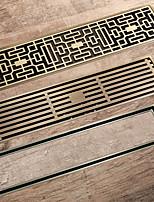 cheap -Antique Brass 30x8cm/31x8cm Rectangle Brass Floor Drain Bathroom Toilet Anti Odor Drain Insert Tile