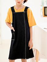 cheap -Kids Girls' Basic Street chic Solid Colored Rivet Split Sleeveless Above Knee Dress Black