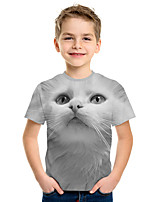 cheap -Kids Boys' Active Street chic Cat 3D Animal Print Short Sleeve Tee Gray