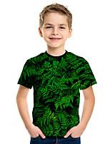 cheap -Kids Boys' Active Street chic Tropical Leaf 3D Print Short Sleeve Tee Green