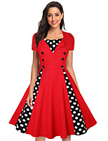 cheap -The Marvelous Mrs. Maisel Retro Vintage 1950s Wasp-Waisted Summer Dress Women's Spandex Cotton Costume White / Red Vintage Cosplay Party Daily Wear Short Sleeve Knee Length