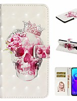 cheap -Case For Huawei Honor 10 Lite /Honor 7A / Mate 10 lite Wallet / Card Holder / with Stand Full Body Cases Skull PU Leather For Huawei Mate 20 lite/Y6 2018/Mate 30 lite/Mate 30 Pro/Mate 30/Mate 20 Pro
