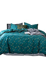 cheap -Duvet Cover Sets 4 Piece Cotton Solid Colored Green Applique Contemporary