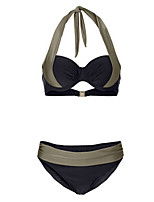 cheap -Women's Basic Gray Halter Thong Bikini Swimwear - Color Block Lace up M Gray