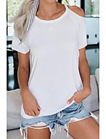 abordables -Tee-shirt Femme, Couleur Pleine Découpé Basique Noir