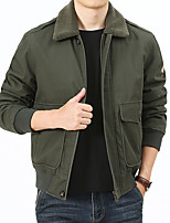 cheap -Men's Hiking Jacket Hiking Windbreaker Winter Outdoor Windproof Warm Comfortable Winter Jacket Top Cotton Single Slider Hunting Fishing Camping / Hiking / Caving Army Green / Blue / Khaki