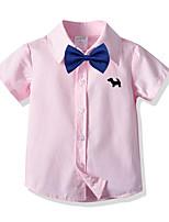 cheap -Kids Toddler Boys' Basic Street chic Plaid Short Sleeve Shirt Blushing Pink