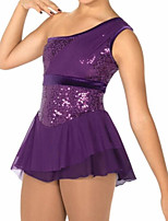 cheap -Figure Skating Dress Women's Girls' Ice Skating Dress Purple Patchwork Spandex High Elasticity Training Competition Skating Wear Crystal / Rhinestone Sleeveless Ice Skating Figure Skating