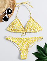 cheap -Women's Basic Yellow Triangle Thong Bikini Swimwear - Floral Geometric Print S M L Yellow