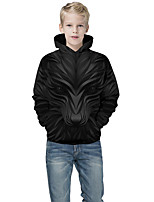 cheap -Kids Boys' Active Punk & Gothic Color Block 3D Animal Long Sleeve Hoodie & Sweatshirt Black