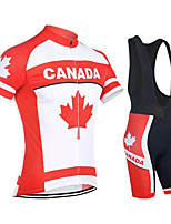 cheap -21Grams Men's Short Sleeve Cycling Jersey with Bib Shorts Red / White Canada Bike Clothing Suit UV Resistant Breathable 3D Pad Quick Dry Reflective Strips Sports Canada Mountain Bike MTB Road Bike