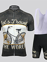 cheap -21Grams Men's Short Sleeve Cycling Jersey with Bib Shorts Black / White Geometic Bike Clothing Suit UV Resistant Breathable 3D Pad Quick Dry Reflective Strips Sports Solid Color Mountain Bike MTB