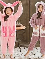 cheap -Kid's Kigurumi Pajamas Rabbit Bunny Onesie Pajamas Flannelette Purple / Pink Cosplay For Boys and Girls Animal Sleepwear Cartoon Festival / Holiday Costumes