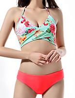 cheap -Women's Basic Fuchsia Halter Cheeky Bikini Tankini Swimwear - Floral Solid Colored Lace up Print S M L Fuchsia