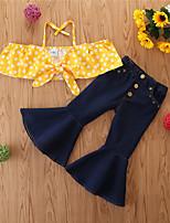 cheap -Toddler Girls' Basic Casual Print Sleeveless Regular Regular Clothing Set Yellow