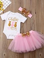 abordables -bébé Fille Chic de Rue Imprimé Manches Courtes Normal Ensemble de Vêtements Rose Claire