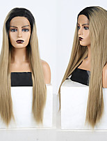 cheap -Synthetic Lace Front Wig Straight Side Part Lace Front Wig Long Ombre Blonde Synthetic Hair 18-26 inch Women's Soft Adjustable Party Blonde Ombre