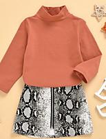 cheap -Kids Girls' Basic Leopard Long Sleeve Clothing Set Brown