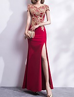 cheap -A-Line V Neck Floor Length Polyester Chinese Style Formal Evening / Holiday Dress 2020 with Appliques / Split