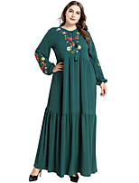 cheap -Adults' Women's Abaya Dress For Party Cotton Polyster Embroidered Halloween Carnival Masquerade Dress