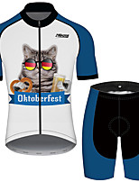 cheap -21Grams Men's Short Sleeve Cycling Jersey with Shorts Blue / White Cat Animal Oktoberfest Beer Bike Clothing Suit UV Resistant Breathable Quick Dry Sweat-wicking Sports Cat Mountain Bike MTB Road