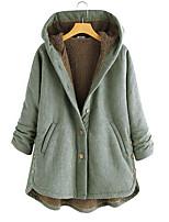 cheap -Women's Daily Winter Regular Coat, Striped Hooded Long Sleeve Cotton Black / Red / Green