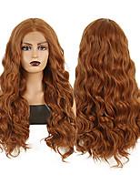 abordables -Perruque Lace Front Synthétique Ondulation naturelle Partie médiane Lace Frontale Perruque Long Marron Cheveux Synthétiques 18-26 pouce Femme Résistant à la chaleur Synthétique Faciliter l'habillage