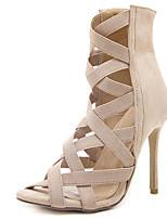 cheap -Women's Boots Stiletto Heel Peep Toe Synthetics Mid-Calf Boots Sweet / Minimalism Fall / Spring & Summer Black / Almond / Party & Evening