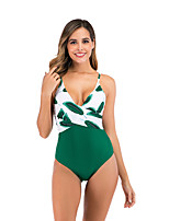 cheap -Women's Basic Green Bandeau Cheeky High Waist Bikini One-piece Swimwear - Floral Geometric Lace up Print S M L Green